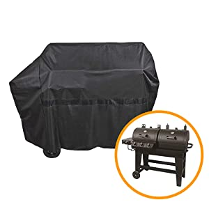 iCOVER 65 Inch 600D Heavy-Duty Water Proof Black Canvas BBQ Barbecue Grill Cover for Gas and Charcoal Combination Style Grill G21609 for Brinkmann Char-Broil Nexgrill Char-Griller
