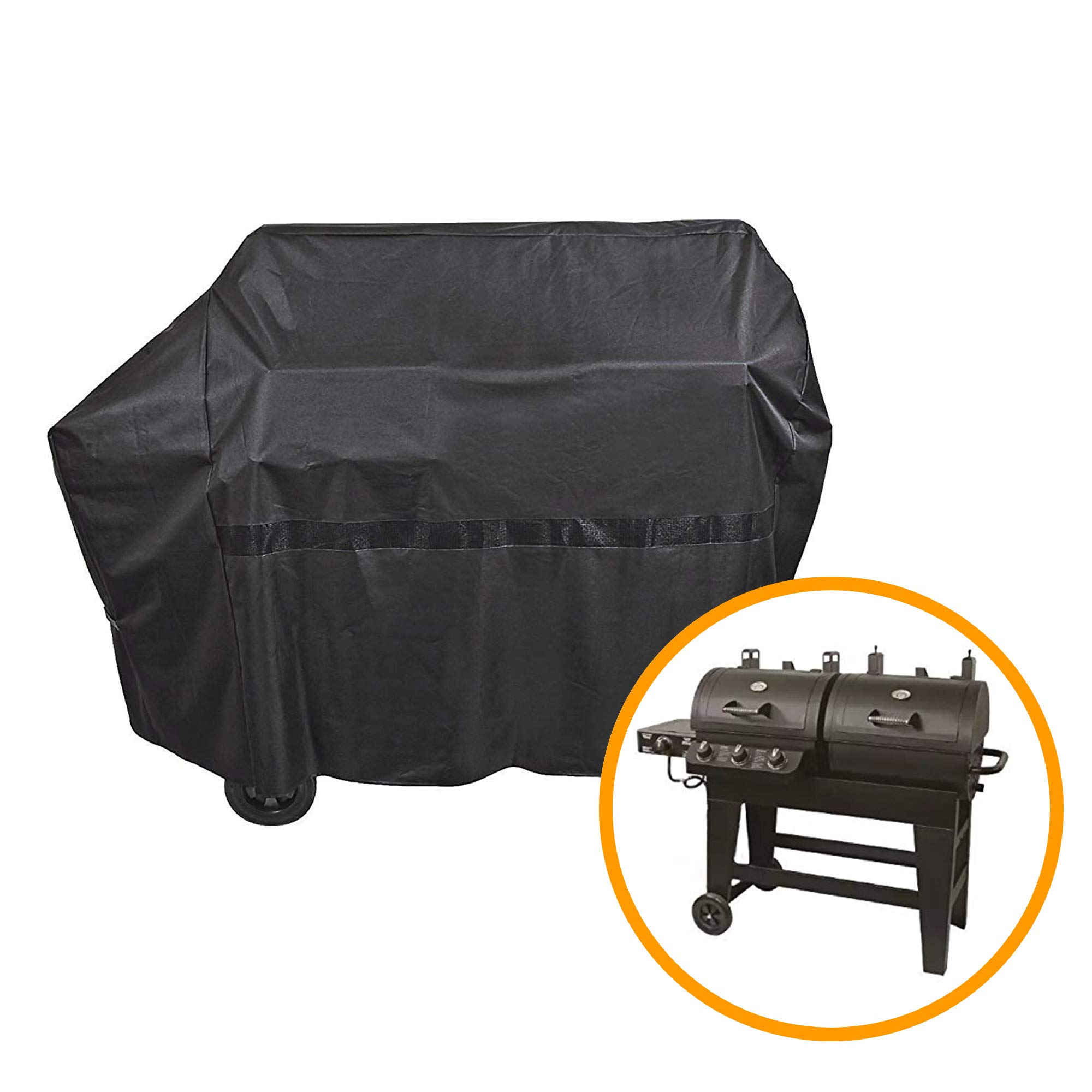 iCOVER 65 Inch 600D Heavy-Duty Water Proof Black Canvas BBQ Barbecue Grill Cover for Gas and Charcoal Combination Style Grill with Side Table G21609 for Brinkmann Char-Broil Nexgrill Char-Griller by iCOVER