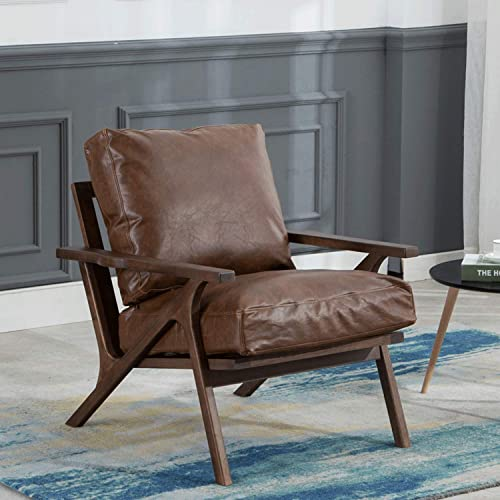 Mid-Century Retro Modern PU Leather Lounge Chair