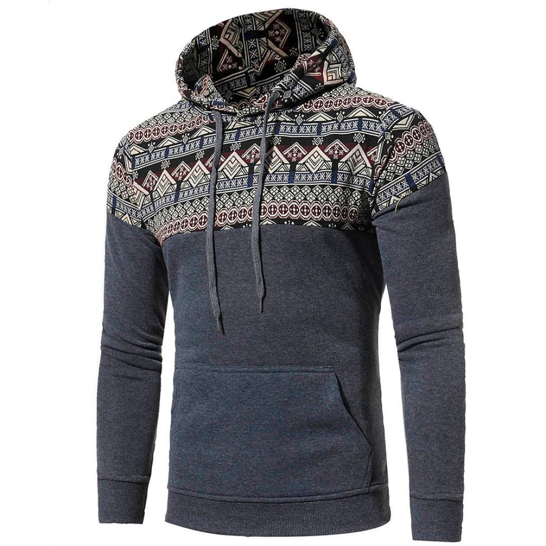Fall Men Bohemia Retro Long Sleeve Hoodie Sweatshirt Tops Jacket Coat Outwear