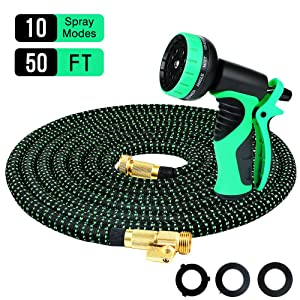 Powsure 50ft Garden Hose-Flexible and Expandable Water Hose,Double Latex Core, 3/4 Solid Brass Fittings, Extra Strength Fabric, No-Kink Expanding Hose with Metal 10 Function Spray Nozzle