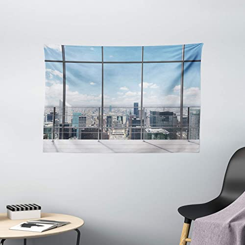 Ambesonne Urban Tapestry, Modern Office Work Place with View to City Architecture Contemporary Urban Plan, Wide Wall Hanging for Bedroom Living Room Dorm, 60 X 40 , Blue Grey