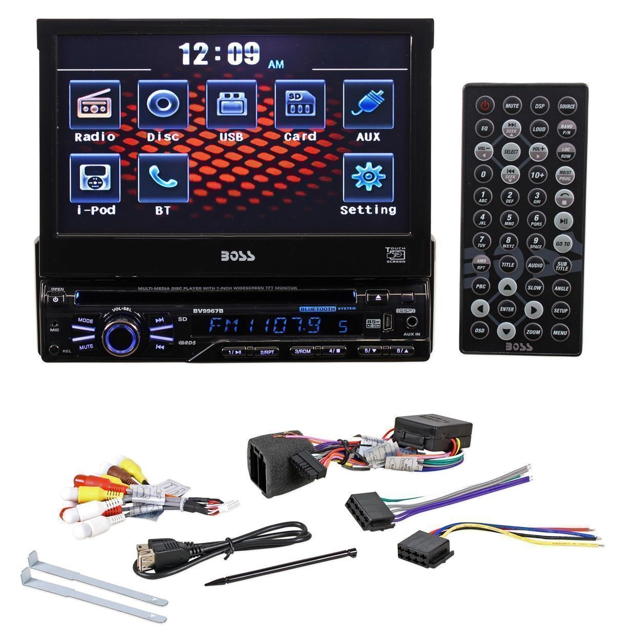 Boss In-Dash 7'' Touchscreen TFT-LCD Car Flip-Up Monitor with Bluetooth, Front Mini-USB and 3.5mm Aux Input