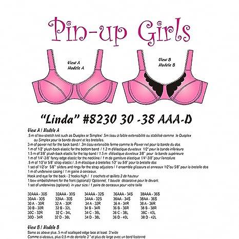 f1eb266d5c8 Amazon.com: Pin-Up Girls: Linda Partial Band Bra Pattern (30-38 AAA ...