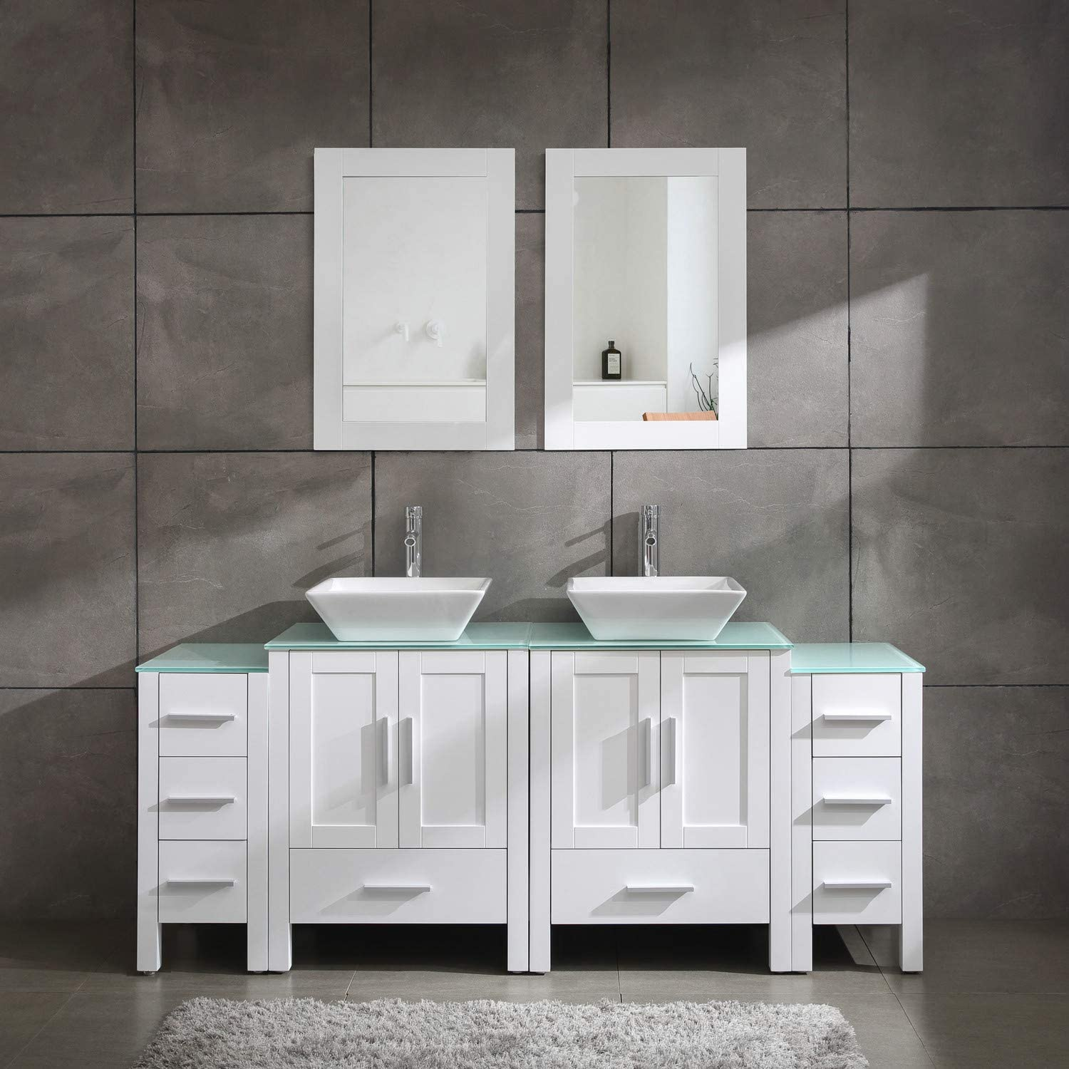 Amazon Com Homecart 72 Double Sink Bathroom Vanity Cabinet Combo Glass Top White Wood W 2 Basin Faucets Mirrors And Drains Kitchen Dining