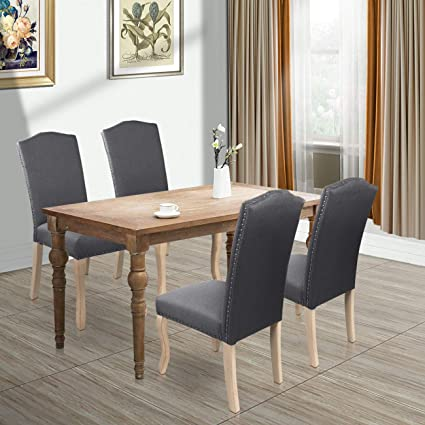 AODAILIHB Dining Chairs Set of 2 Solid Wood High Back Dining Chair Fabric  Padding Oak Legs Classic Durable (Grey 01)