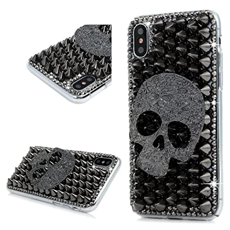 official photos 64142 1c2de Skull iPhone X Case, Awsaccy Halloween Luxury Unique: Amazon.in ...