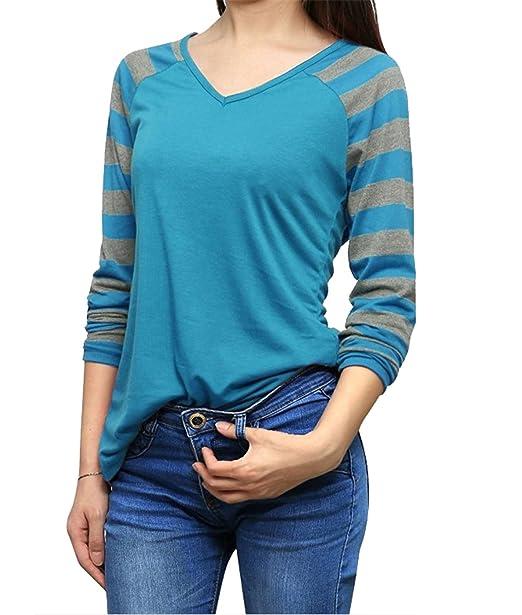 Mujer Tops Cuello Corte Rayas Sencillos Ajustado Camisetas V Otoño En Nuevo Haroty Casual Manga Larga g8dfnSwqw