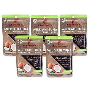Tuna Keto Snack Pouch - No Carbs Wild Ahi Tuna in Coconut Oil (Pack of 5)