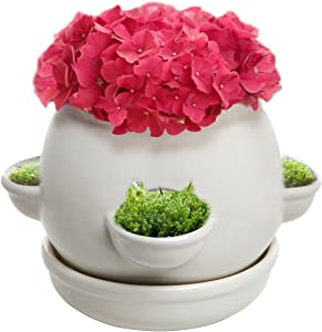 MyGift Decorative 4 Side Openings Design White Ceramic Plant Flower Container Pot with Saucer