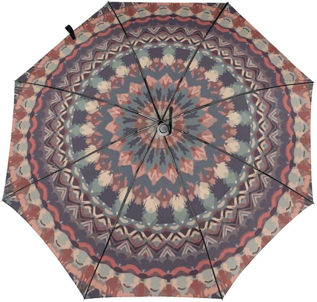 Mandala Pattern Automatic Tri-fold Umbrella Classic Windproof Anti UV Rain//Sun Travel Umbrella Light Weight.