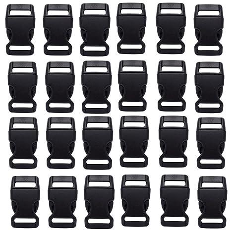 HONGCI - 30 mini boucles de dégagement latéral en plastique de 15 mm -  Noires - 30c434532506