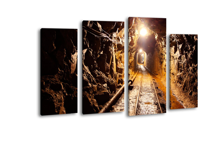 Leinwandbild Stollen LW300 Wandbild, Bild auf Leinwand, 4 Teile, 180x100cm, Kunstdruck Canvas, XXL Bilder, Keilrahmenbild, fertig aufgespannt, Bild, Holzrahmen, Untertage, Kohle, Bergbau,
