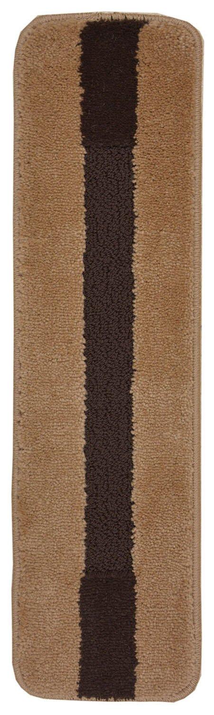 Luxury Stair Tread Treads Stripe Edge Geometric Design Indoor Skid Slip Resistant Carpet Stair Tread Treads Machine Washable 8 ½ inch x 30 inch (1 Piece, Stripes Edge Beige)