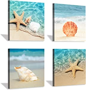 Beach Seashell Starfish Wall Art: Blue Ocean Beauties Artwork Print on Wrapped Canvas for Living Room (12''x12''x4pcs)
