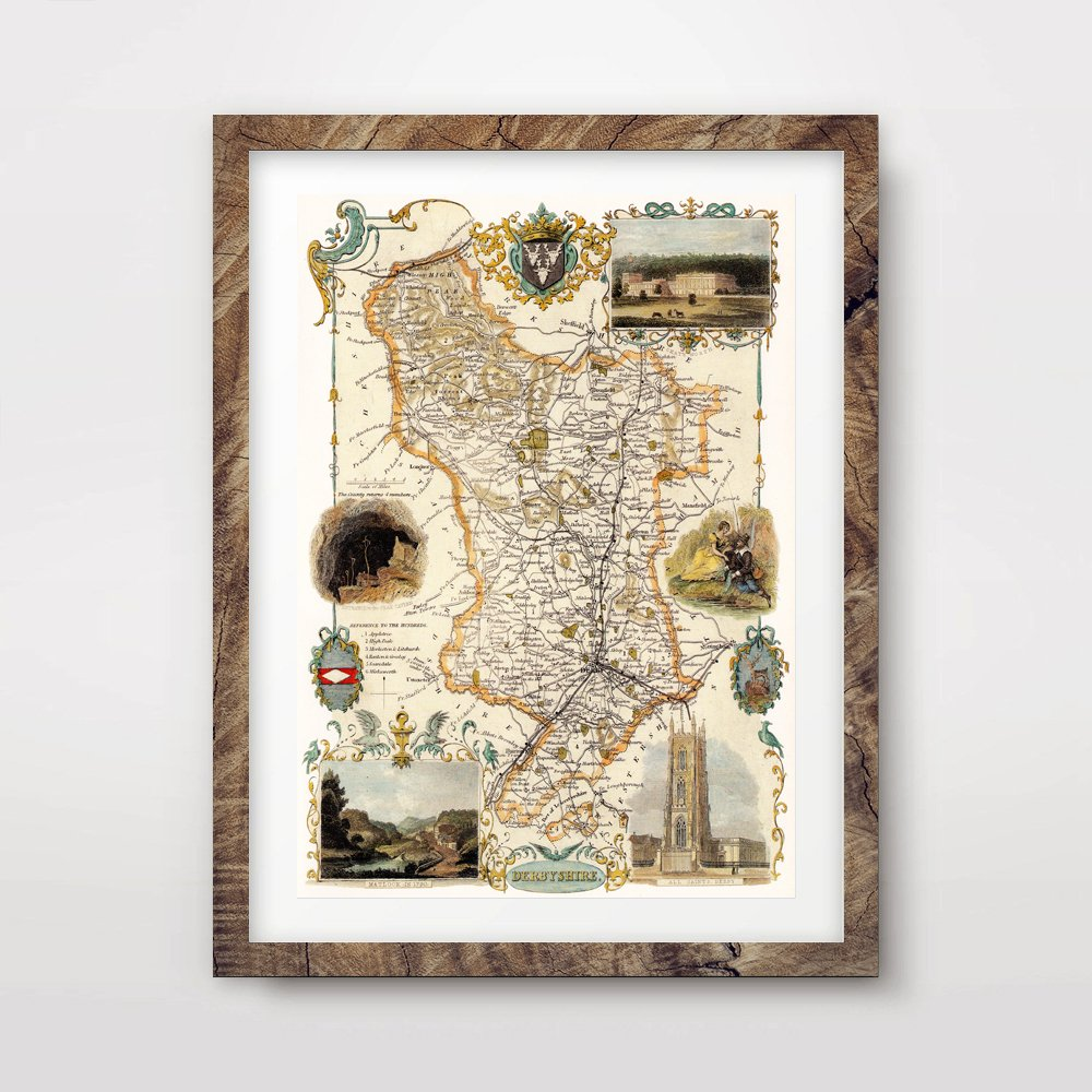 come to choose your own sports style DERBYSHIRE COUNTY VINTAGE MAP ...