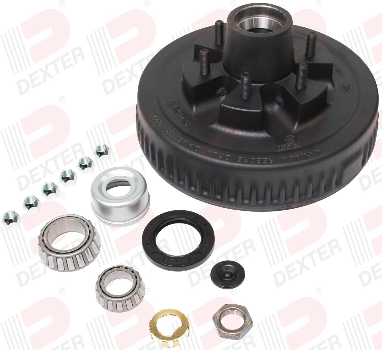 2.25 Seal Dexter K08-201-9B HUB/&Drum KIT for 5.2K-6K AXLES 1//2 Studs EZ-LUBE 6-5.50 BC
