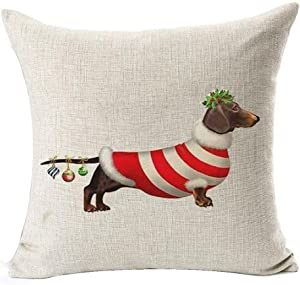 Bnitoam Animal Adorable Christmas Dachshund hot diggedy-Dog Cotton Linen Throw Pillow Covers Case Cushion Cover Sofa Decorative Square 18 inch