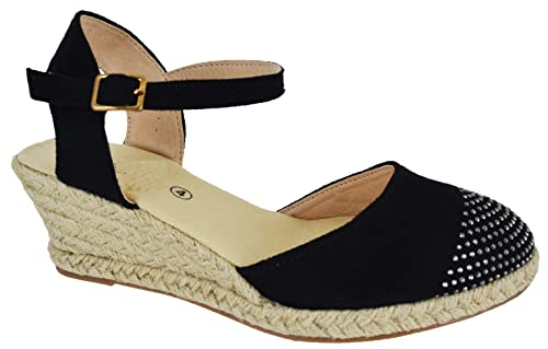7ba3377f416 EYESONTOES Ladies Womens Espadrilles Low MID Wedge Buckle Strap Summer  Sandals Shoes Size