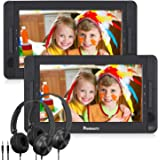 "NAVISKAUTO 10.5"" Dual Screen DVD Player Portable for Car with Headphones, 5-Hour Built-in Rechargeable Battery, Supports USB/SD/MMC Reader and Region Free (Host DVD Player+ Slave Monitor)"