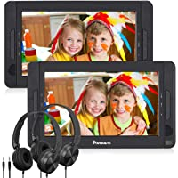"""NAVISKAUTO 10.5"""" Dual Screen DVD Player Portable for Car with Headphones, 5-Hour Built-in Rechargeable Battery, Supports USB/SD/MMC Reader and Region Free (Host DVD Player+ Slave Monitor)"""