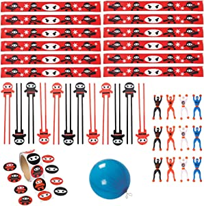 48 PC Ninja Party Pack Ninja Party Favors - Chop Sticks, Slap Bracelets, Stickers, Ninja Wall Climbers