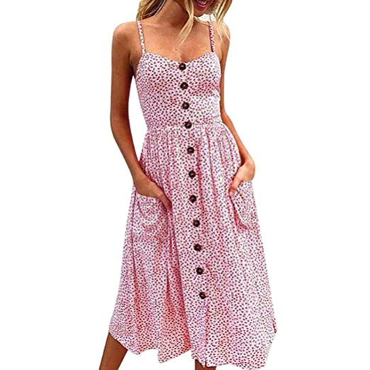 acdc0d7685ee CUCUHAM Women Sexy Printing Buttons Off Shoulder Sleeveless Dress Princess  Dress(Pink