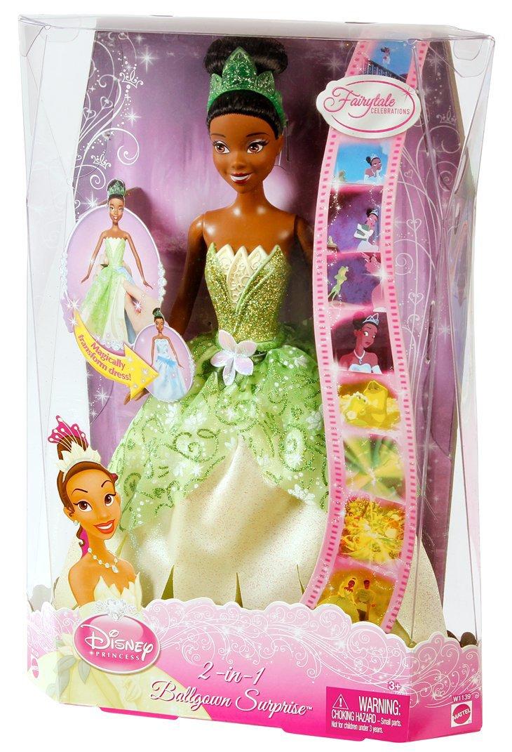 Amazon.com: Mattel Disney Princess 2-In-1 Ballgown Surprise Tiana ...