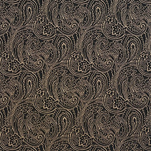 B633 Black Traditional Paisley Jacquard Woven Upholstery Fabric by The Yard ()