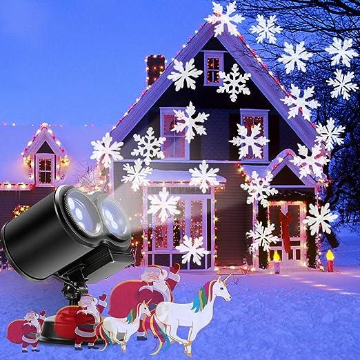 Luces de Proyector Navidad, B-right Luces de Proyector con Copo de Nieve de Color Blanco, Luz de Proyección Impermeable Perfecto para Navidad Boda ...