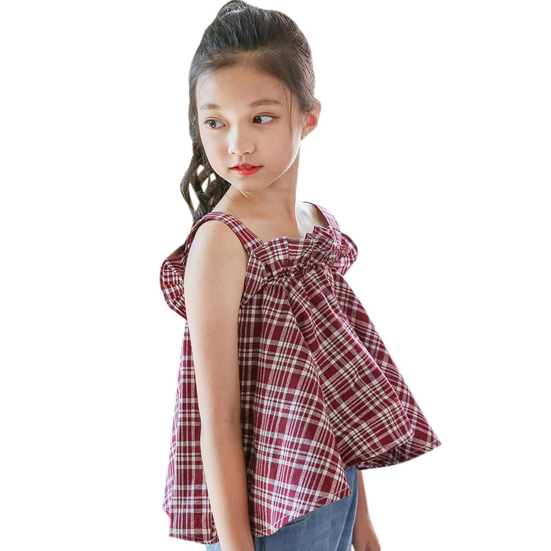 ACVIP Girls Strappy Ruffled Chest A-line Plaid Camisole Top