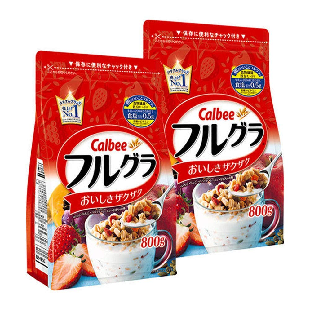 (Product of Japan)Calbee Furugura Fruit Granola (Strawberry, Apple, Papaya, Raisin, Pumpkin Seed) | 17 Fl Oz X 2 Pack