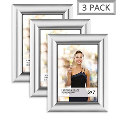 Langdons 5x7 Picture Frame (3 Pack, Silver), Silver Photo Frame 5 x 7, Wall Mount or Table Top, Set of 3 Celebration Collection