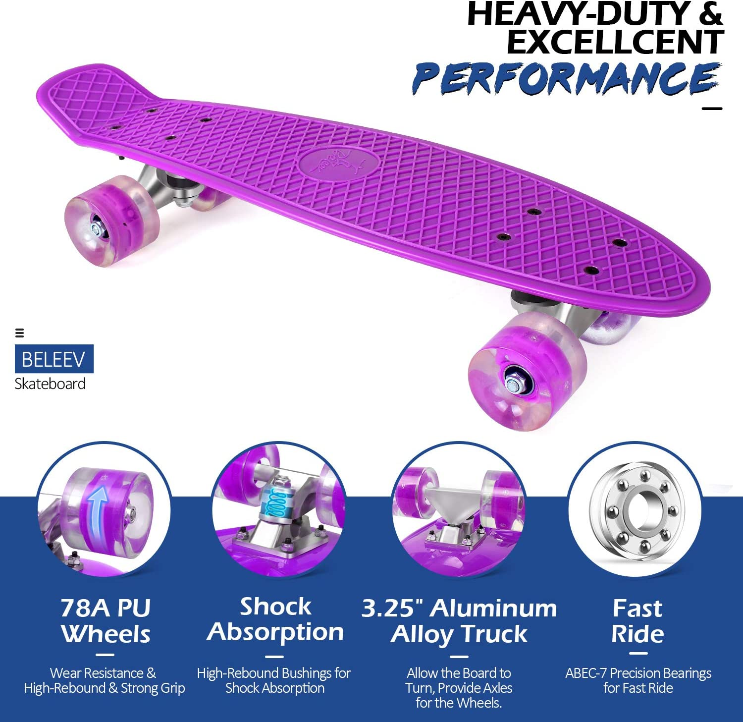 BELEEV Skateboard Complete Mini Cruiser purple - 2