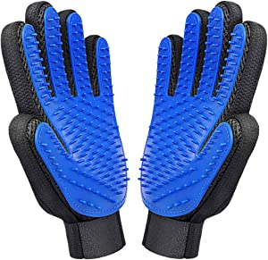 Closeep Dog Grooming Glove 1 Pair Pet Deshedding Brush Gloves Cat Hair Remover Mitt for Pet Massage Long or Short Fur Bathing