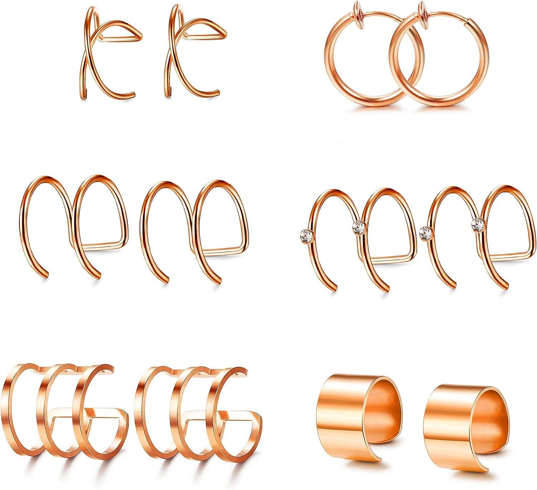 Adramata 4-8 Pairs Ear Cuffs Earrings for Women Girls Non-piercing Fake Cartilage Threader Earring Set