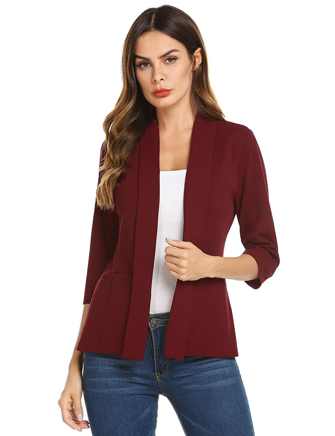 Aimage Women Solid Open Front Blazer Cardigans 3 4 Sleeve Pockets Lapel Suit Jacket