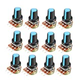 uxcell 12Pcs 50K Ohm Variable Resistors Single Turn Rotary Carbon Film Taper Potentiometer with Knobs