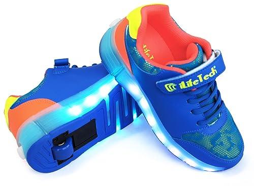 iLifeTech - Zapatillas deportivas con ruedas para niño, tipo Heelys, recargables, luz LED intermitente, color azul, talla 37 EU: Amazon.es: Zapatos y ...