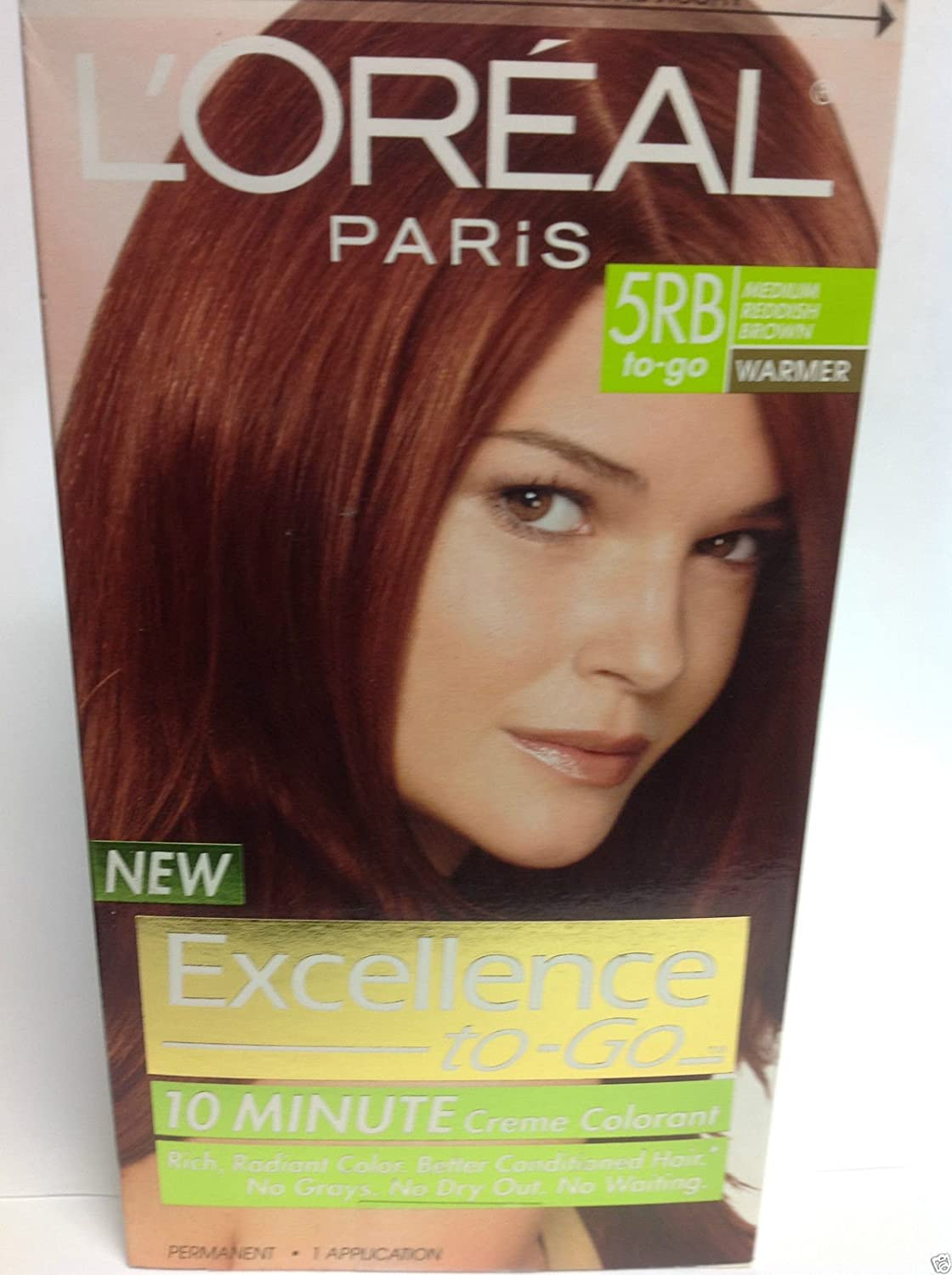 L'Oreal Paris Excellence To-Go 10-Minute Crème Coloring, Medium Reddish Brown 5RB