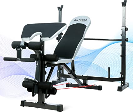 Adjustable Lifting Weight Bench With Squat Rack Workout Leg Sit Up Curl Bench