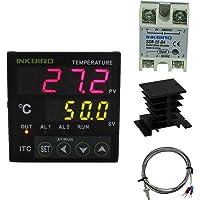 Inkbird ITC-100VH PID Thermostat Numérique 220V avec K Thermocouple,Chauffage ou Refroidissement Température Contrôleur ITC-100VH + K Sonde + 25DA SSR+Dissipateur de Chaleur/Thermique Radiateur Noir