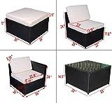 MCombo 5 PC Cozy Outdoor Garden Patio Rattan Wicker Furniture Sectional Sofa Set Cushioned Seats 6088
