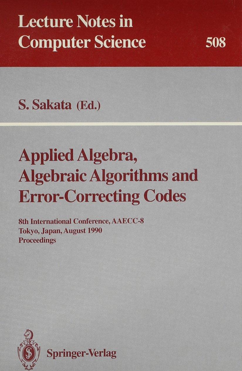 Applied Algebra, Algebraic Algorithms and