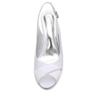 Boda Dama Satinado yc L 16 P17061 Mujeres Las Zapatos Toe Peep De tFSwSqRA