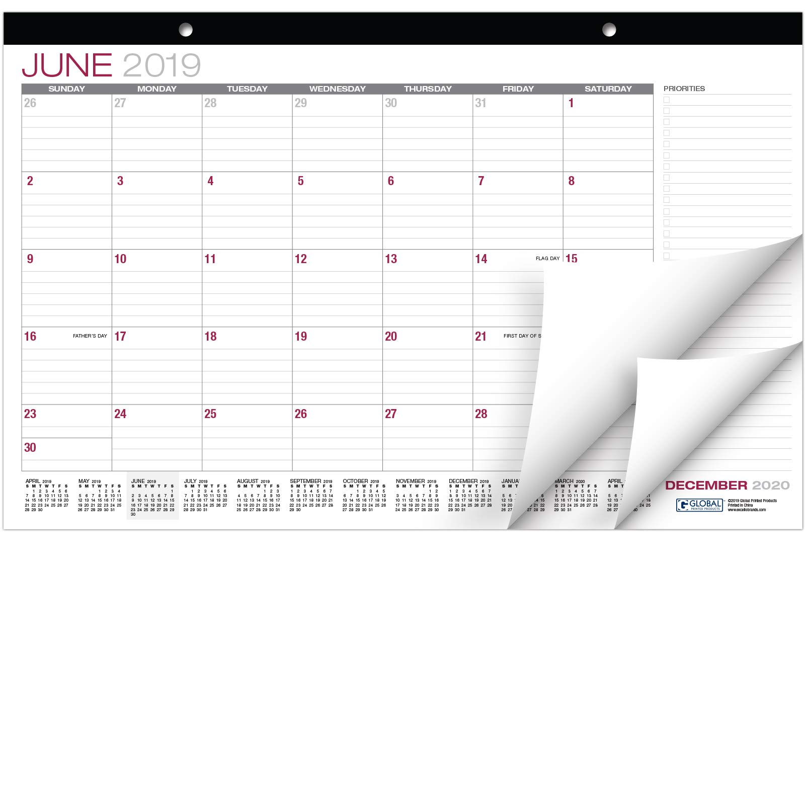 Desk Calendar 2019-2020: 11''x17'' - (Runs from June 2019 Through December 2020) by Global Printed Products