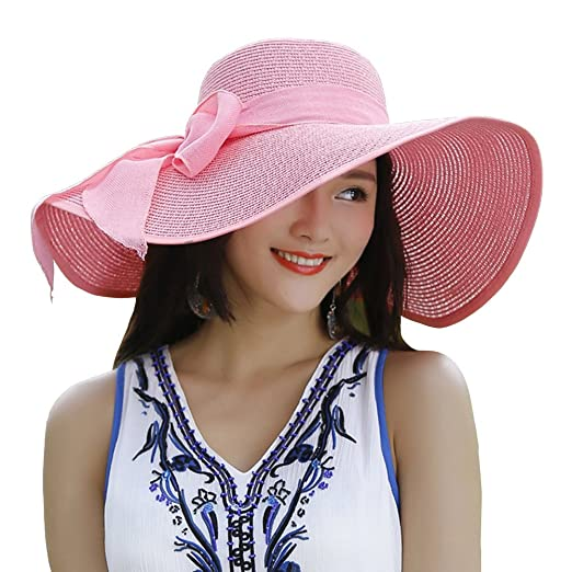 b16606be00e Kaisifei Bowknot Casual Straw Women Summer Hats Big Wide Brim Beach Hat  (Pink-2