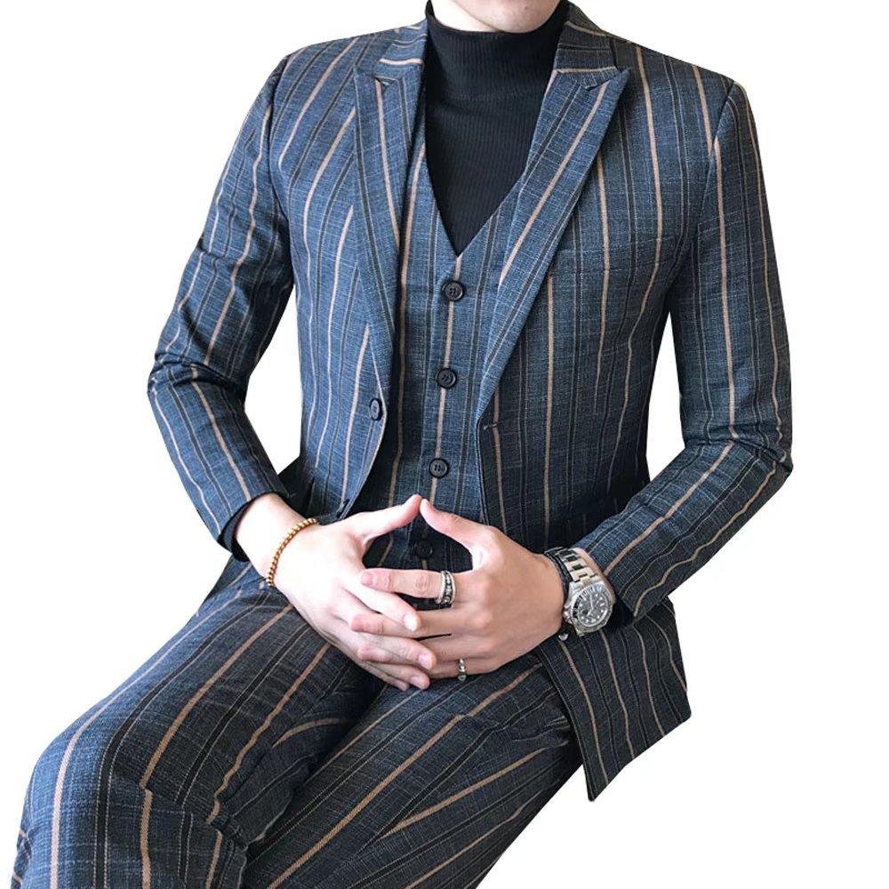 InitialG【イニシャルジー】スーツ メンズ ビジネススーツ 3ピーススーツ テーラードジャケット スラックス ベスト 紳士服 結婚式 スリム ストライプ 008-dsjdc317-tz85(4XL ブルー ) B0759PDQFN 4XL|ブルー ブルー 4XL