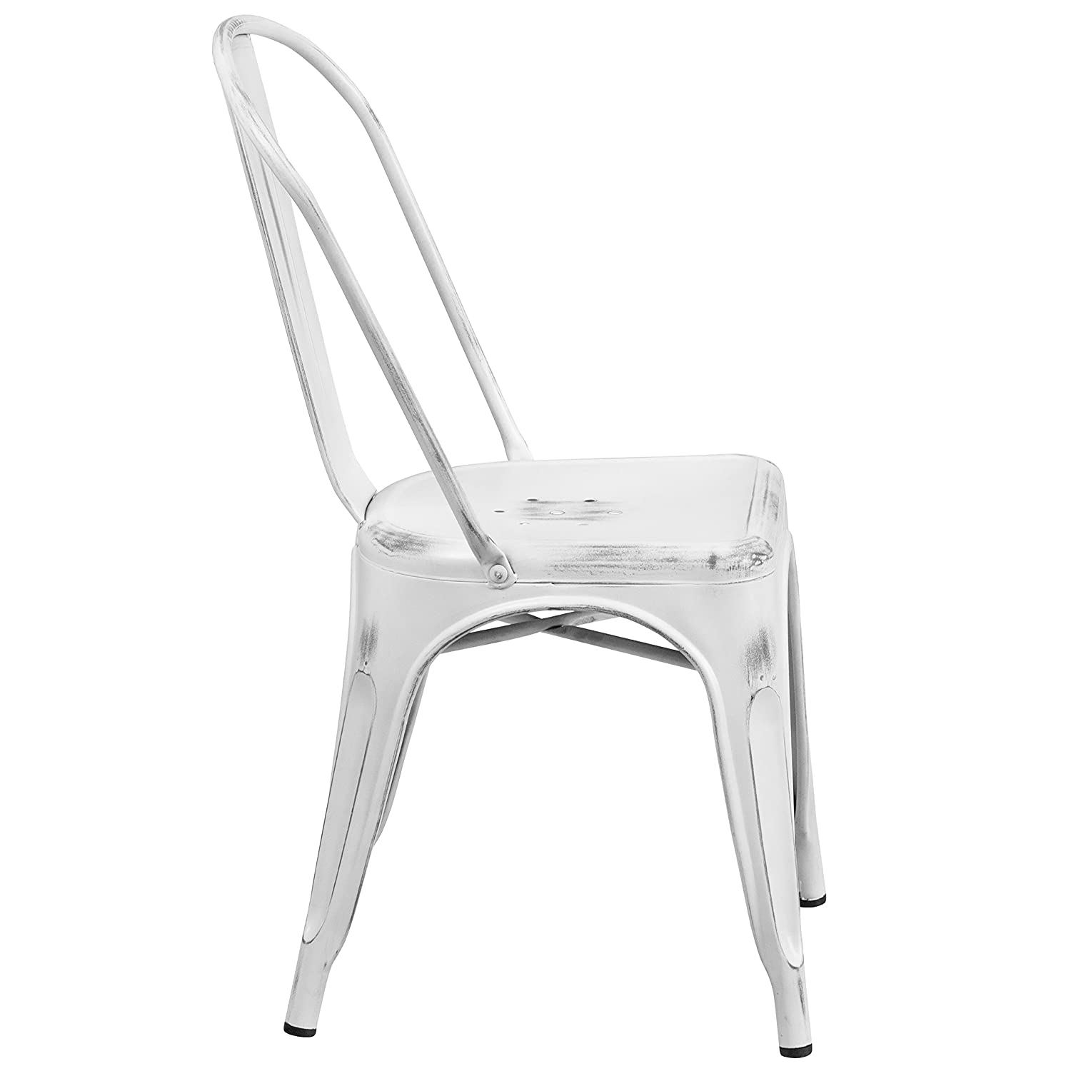 Flash Furniture Distressed White Metal Indoor-Outdoor Stackable Chair