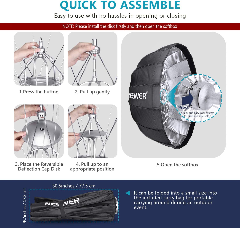CAOMING 40cm Flash Folding Soft Box with Flash Light Holder EB-040 Durable Black